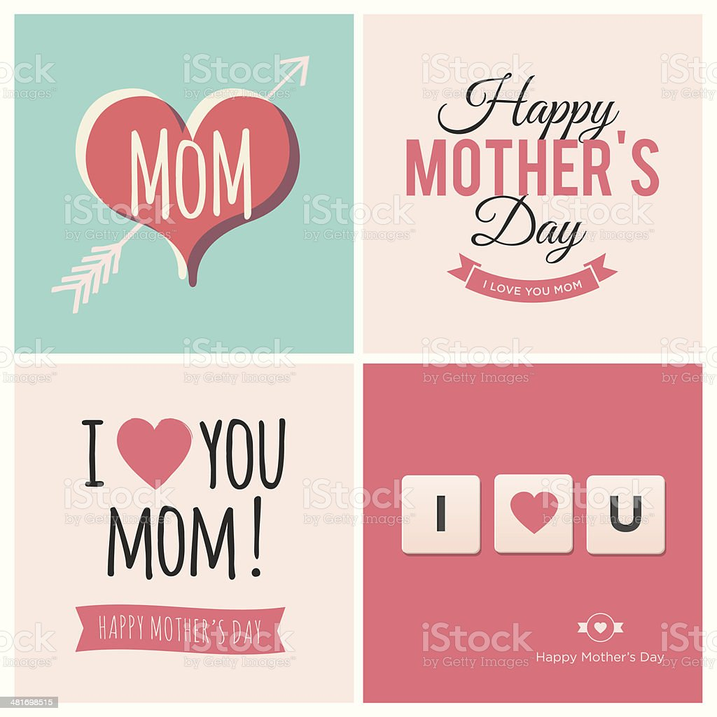 Happy Mothers Day Cards Stock Illustration Download Image