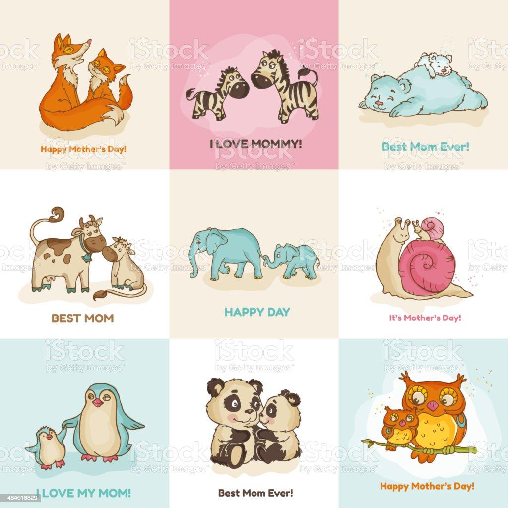 幸せな母の日カードかわいい動物 のイラスト素材 484618829 | istock