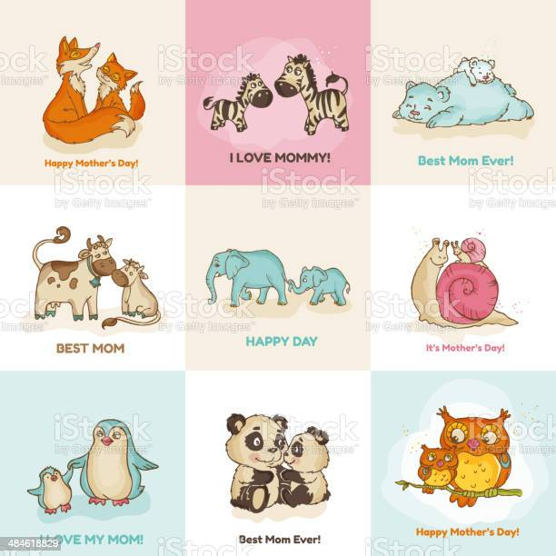 Happy mothers day cards with cute animals vector id484618829?b=1&k=6&m=484618829&s=612x612&h=gl5j gdik25v7j8ffdeoha5smgkafco1 zjofqahuho=