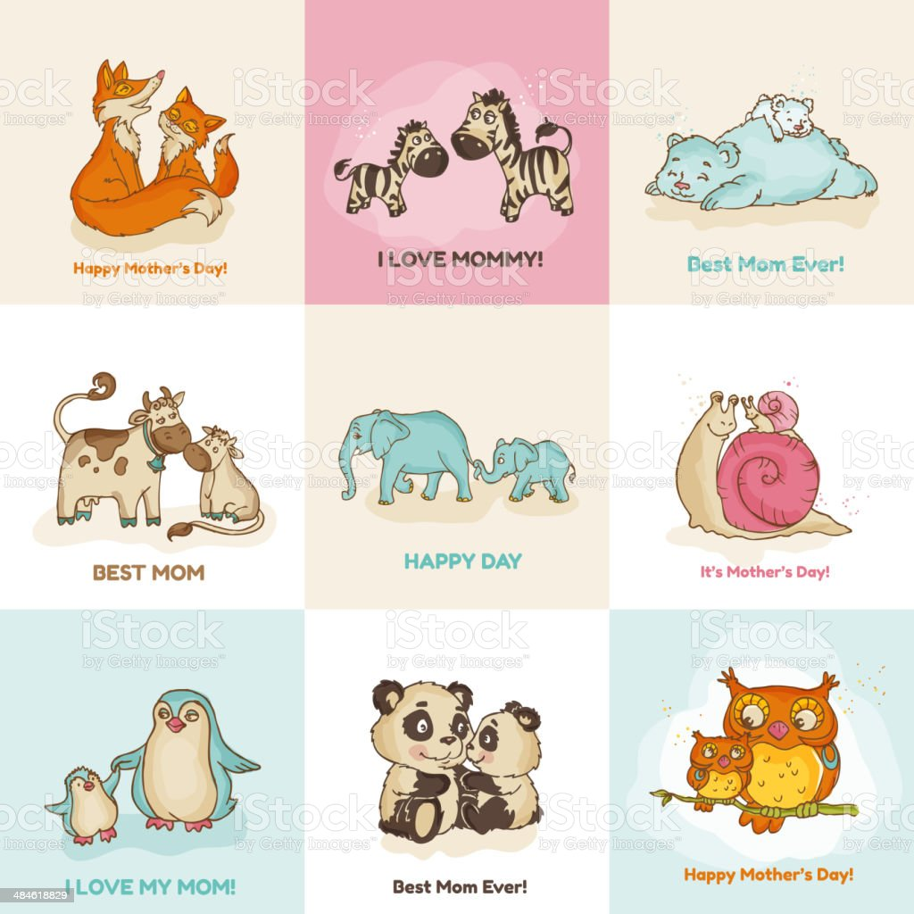 Happy Mothers Day Cards - with cute animals vector art illustration