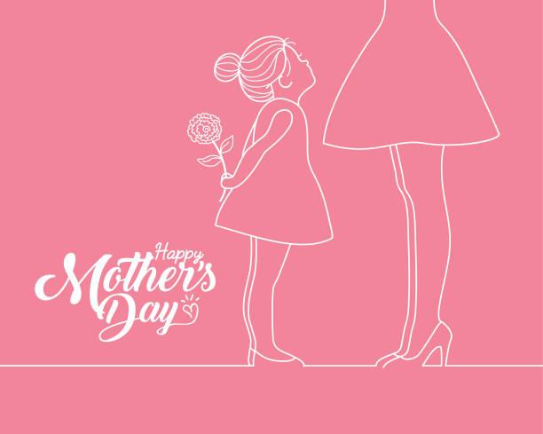 ilustraciones, imágenes clip art, dibujos animados e iconos de stock de feliz día de la madre-chica de dibujos animados sosteniendo clavel y madre en el arte de la línea blanca - hija