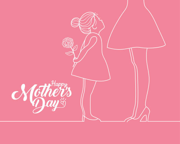 Happy Mother's Day - cartoon girl holding carnation & mother in white line art Happy Mother's Day copy space. Little cartoon girl holding carnation and her mother in white line art style isolated on plain pink background. Vector illustration. daughter stock illustrations