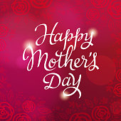 Celebrate the Mother's Day with calligraphy and roses on the red background