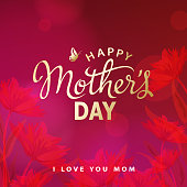 Celebrate the Mother's Day with calligraphy and flowers on the red background