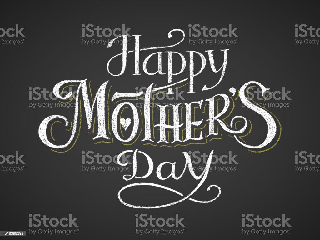 Glücklich Muttertag. Chalk-Schriftzug – Vektorgrafik