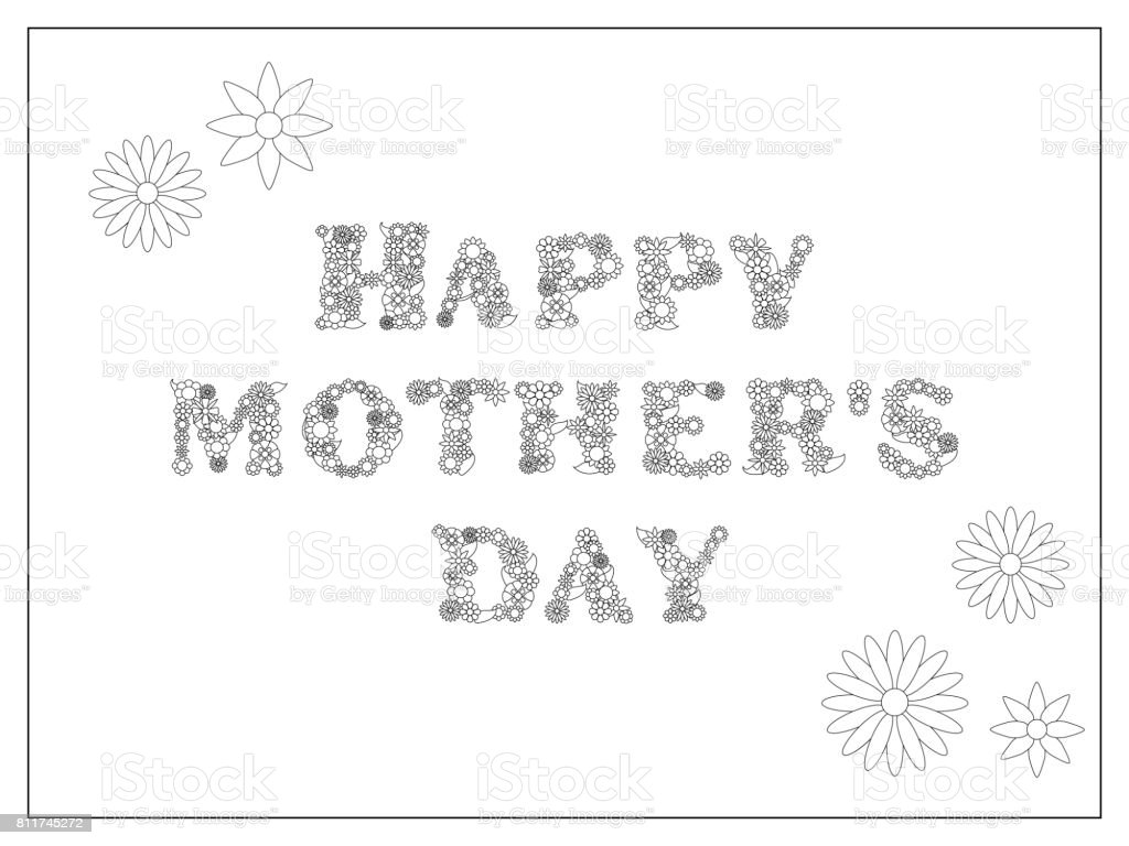 Happy Mothers Day Coloring Page Vector Illustration Mothers Day Postcard Diy Stock Illustration Download Image Now Istock