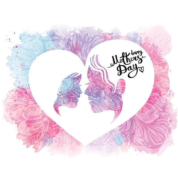 ilustraciones, imágenes clip art, dibujos animados e iconos de stock de feliz día de la madre. felicitaciones. la inscripción en el fondo blanco - hija