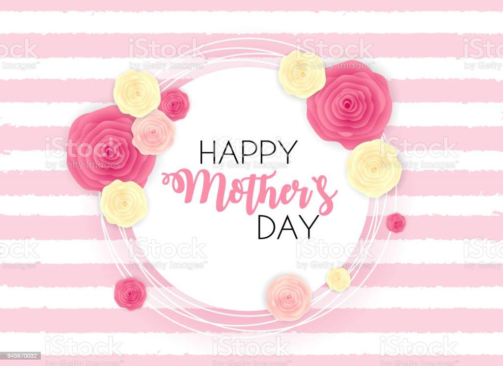 Schönen Muttertag niedlich Hintergrund mit Blumen. Vektor-Illustration – Vektorgrafik