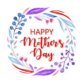 istock Happy Mother's Day, Delicate Leaves and Berries on White Background. Pink, Blue, Purple Spring Blossom Design for Greeting Cards, Advertising, Banners, Leaflets and Flyers. Geometric Botanical Vector Design Frame. Elegant Summer Concept, Design Element. 1222202999
