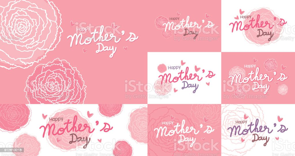 Happy mothers day design and pink carnation flowers background vector illustration