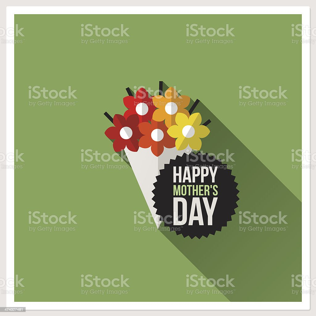 Happy Mother's Day. Flat design greeting card with colorful bouquet vector art illustration
