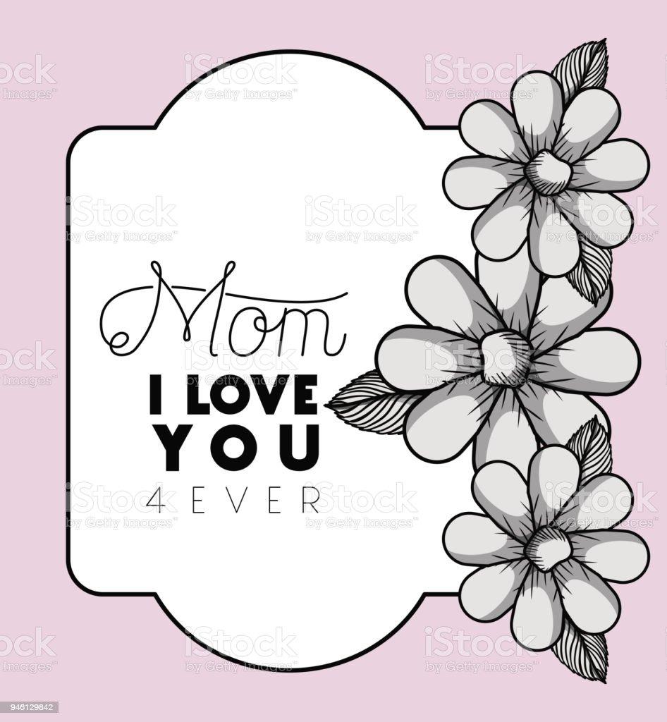Glückliche Mütter Tag Rahmen Mit Blumen Stock Vektor Art und mehr ...