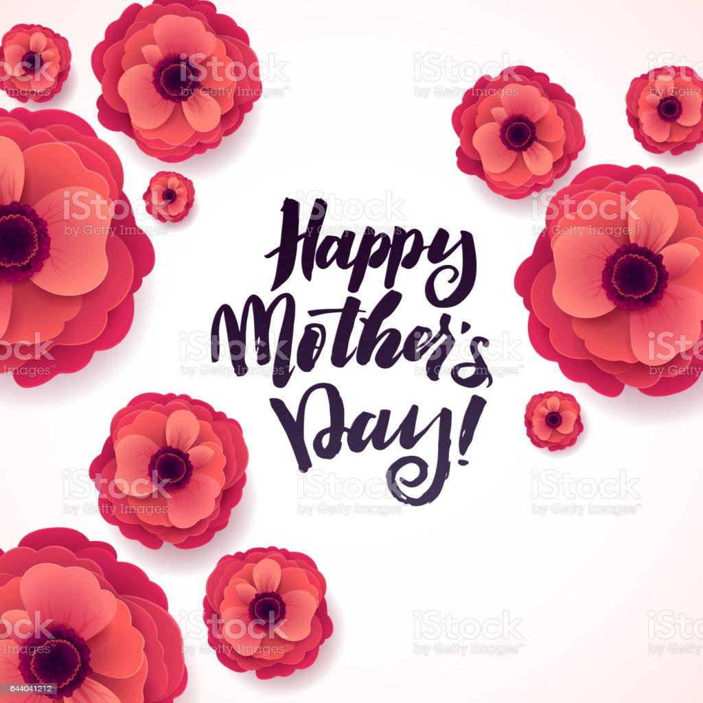 Feliz madres día saludo tarjeta hermosa anémona papel flores sobre fondo blanco - ilustración de arte vectorial