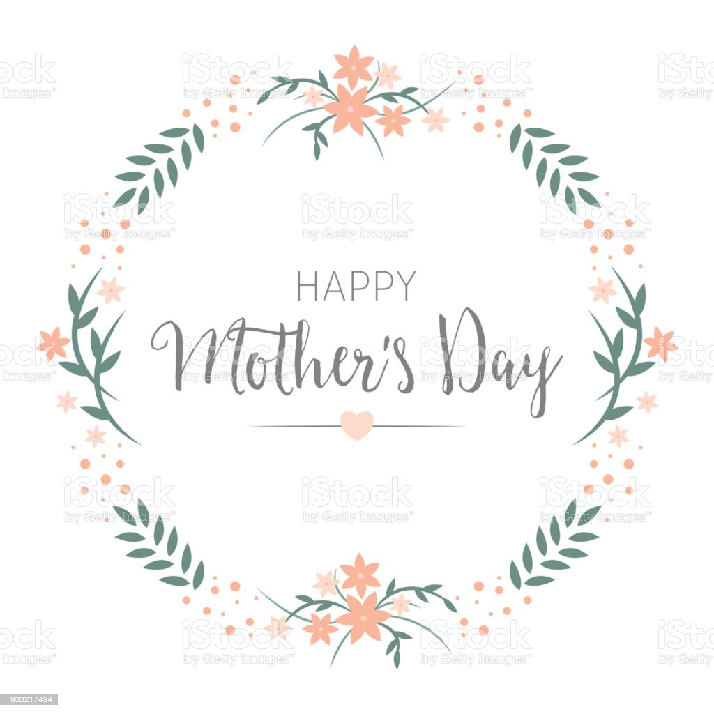 Happy Mothers Day Greeting Card Design Floral Round Wreath Frame