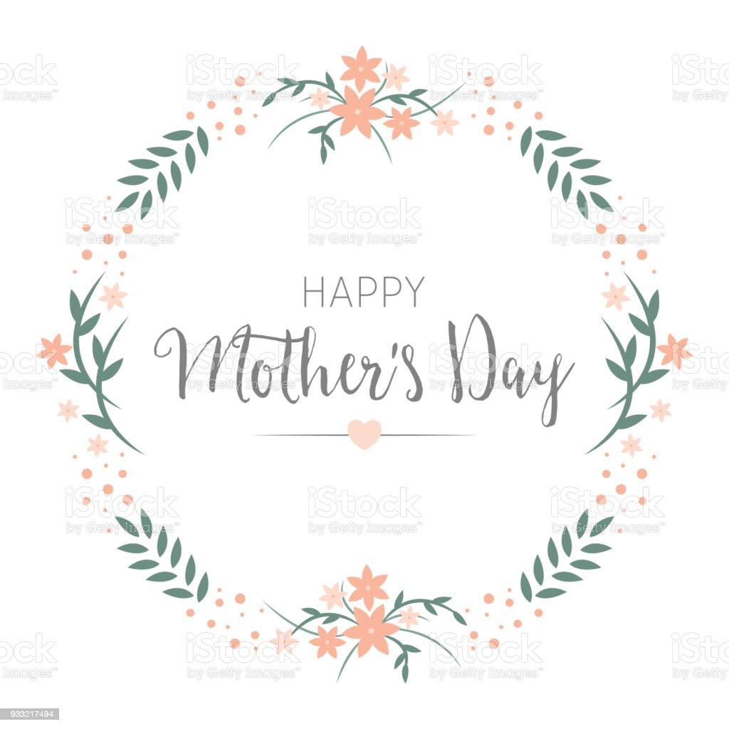 Glücklich Muttertag Grußkarte Design. Blumenkranz runden Rahmen mit Begrüßung im Zentrum. – Vektorgrafik