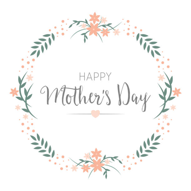 ilustraciones, imágenes clip art, dibujos animados e iconos de stock de diseño de tarjeta de felicitación día de la madre feliz. marco flores guirnalda redonda con saludo en el centro. - día de la madre