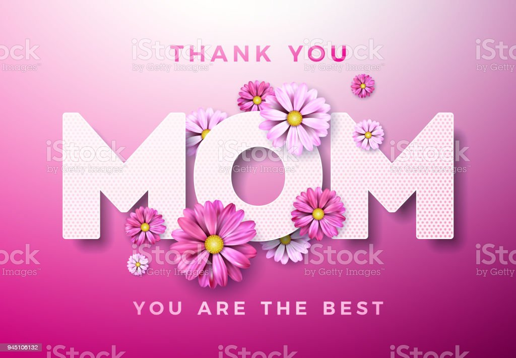 Happy mothers day greeting card design with flower and thank you mom happy mothers day greeting card design with flower and thank you mom typographic elements on pink m4hsunfo