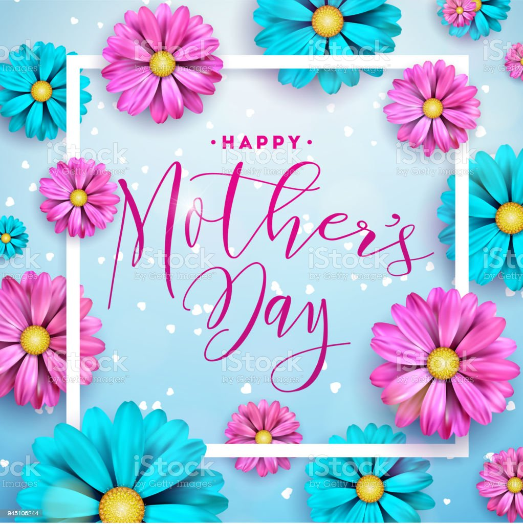 Happy Mothers Day Greeting Card Design With Flower And Typographic