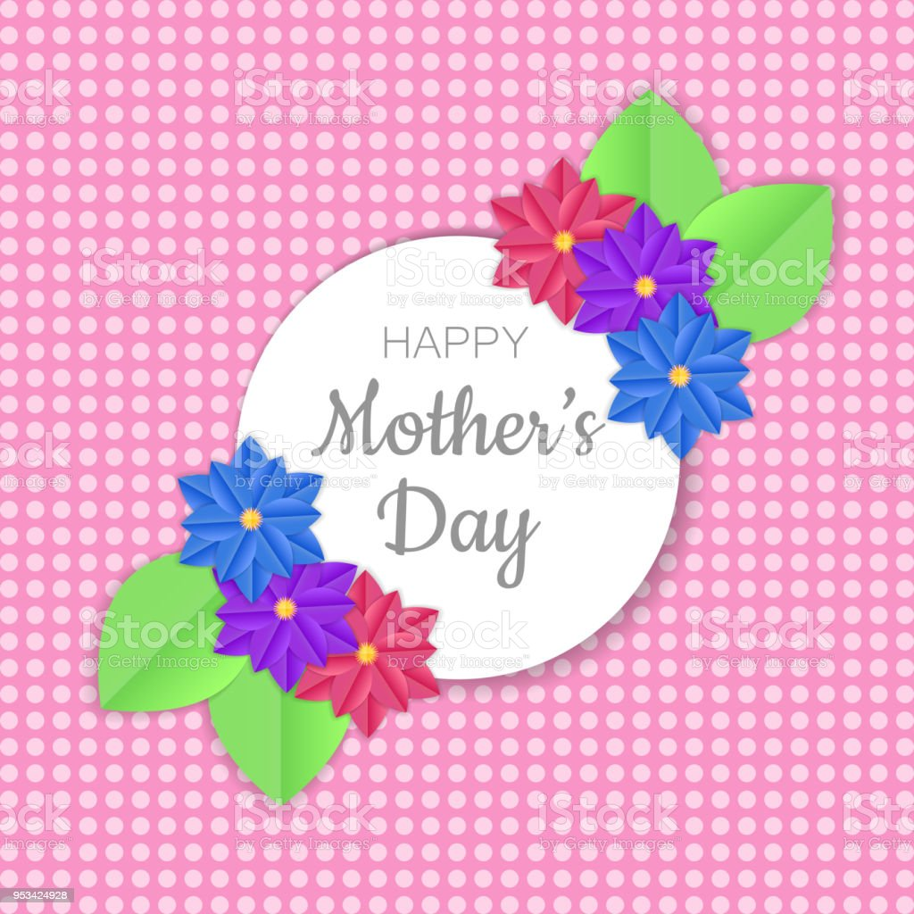 Happy Mothers Day Greeting Card Design With Paper Cut Flowers Design