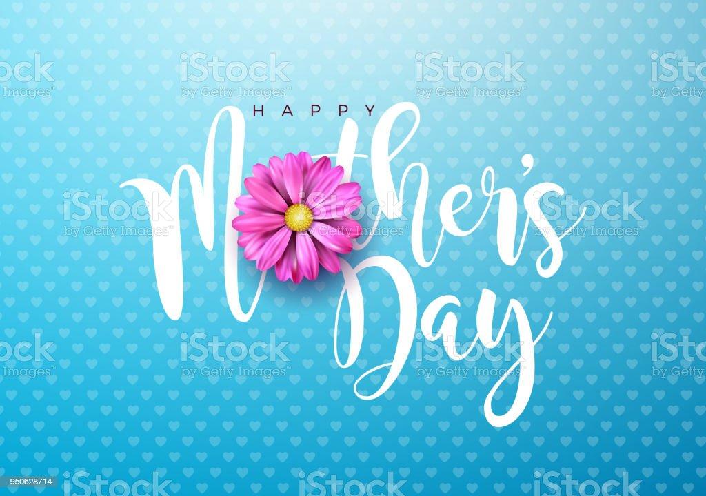 Glückliche Mütter Tag Gruß Karte Abbildung Mit Rosa Blume Und ...