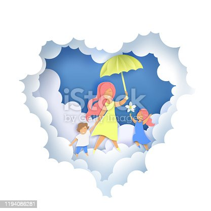 Layered paper cut style heart with happy mother with two kids walking along fluffy clouds and holding umbrella, vector illustration in paper art craft style. Happy Mothers Day greeting card template.