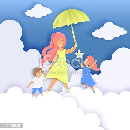 Happy mother with two kids walking along fluffy clouds and holding umbrella, vector illustration in paper art craft style. Happy Mothers Day greeting card template.