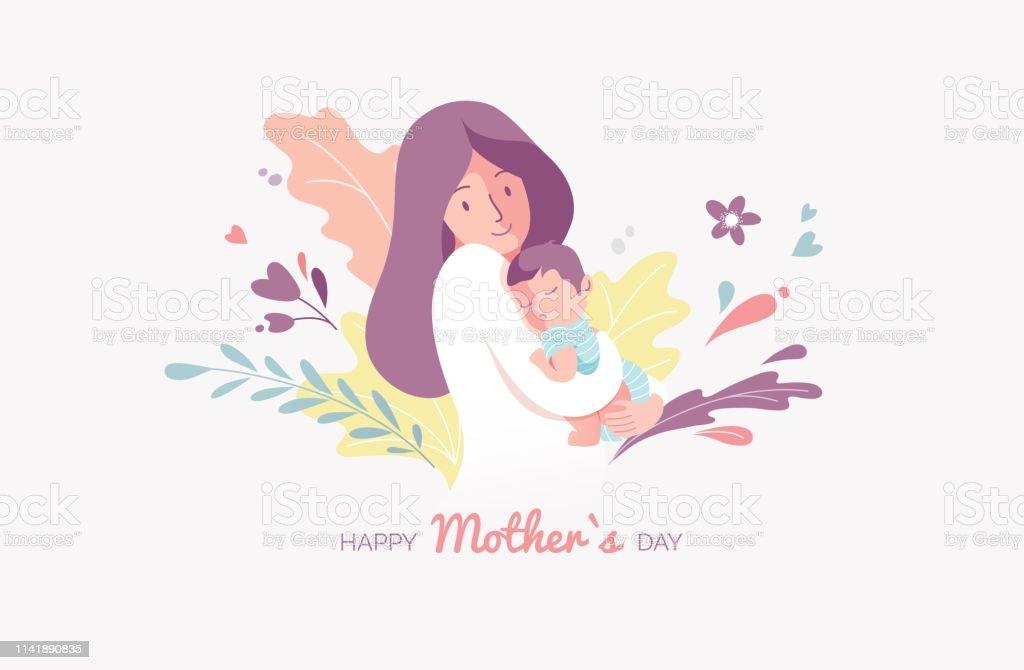 Happy Mother es Greeting Card. – Vektorgrafik
