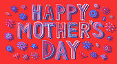 Hand drawn Happy Mother's Day card. You can edit the colors or sizes easily if you have Adobe Illustrator or other vector software. All shapes are vector