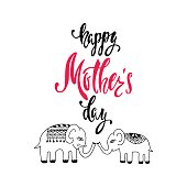Happy Mother's Day greeting card. Handwritten vector lettering design with cute elephants. Calligraphic phrase.