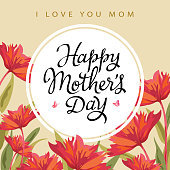Happy Mother's Day greeting card with blooming red flowers