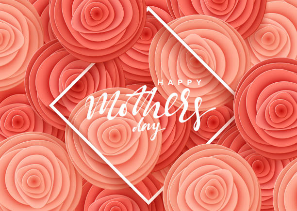 happy mother's day, greeting card with beautiful flowers in the style of paper art illustration - mothers day stock illustrations