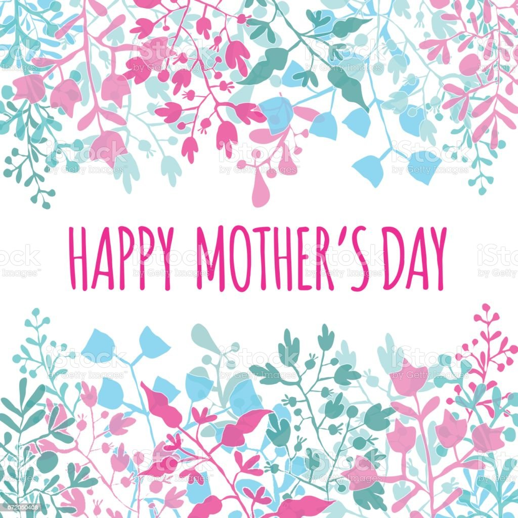 Happy mothers day greeting card with bluepink floral frame stock happy mothers day greeting card with bluepink floral frame royalty free happy mothers day kristyandbryce Image collections