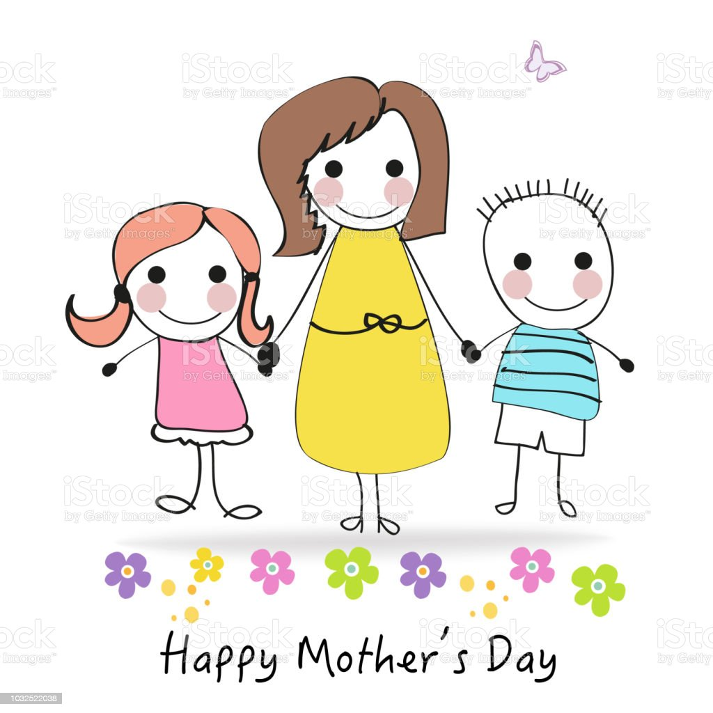 Happy Mother's day greeting card with cartoon kids and mother vector art illustration