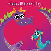 Happy Mother's day greeting card with cute dragons.Hand drawn vector background in cartoon style.