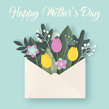 Happy Mothers Day greeting card with envelope, flowers bouquet and leaves on blue background.