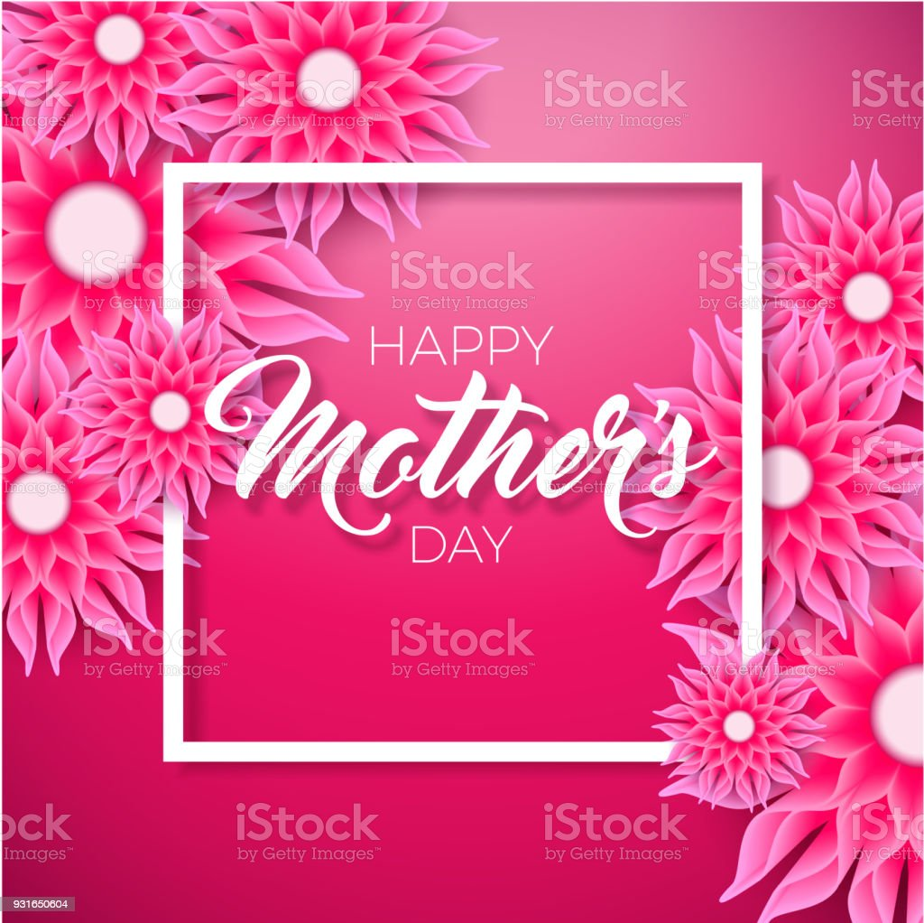Creative Floral Flyer Of Happy Mothers Day Template For: Happy Mothers Day Greeting Card With Flower On Pink