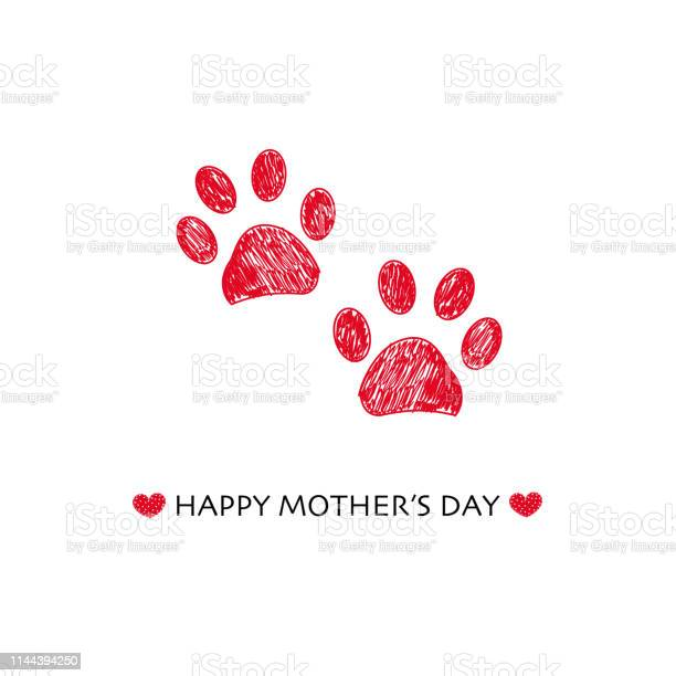 Happy mothers day greeting card with hand drawn red colored paw vector id1144394250?b=1&k=6&m=1144394250&s=612x612&h=mh0dhanlntqedotygtf7gd 51wm7alzcbhjvvxlh4vg=