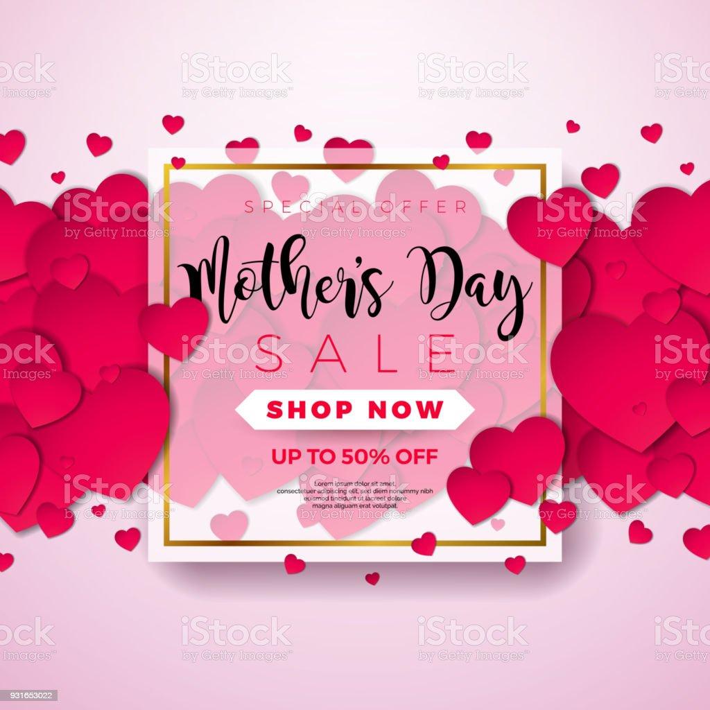 Ilustración de Feliz Día De Madres Felicitación Tarjeta Con Corazón ...