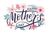 istock Happy mothers day greeting card with modern doodle flowers background. 1211974292