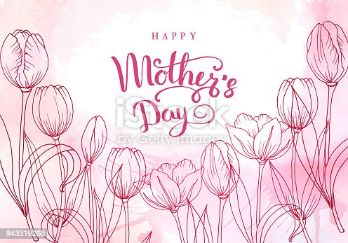 istock Happy mother's day. Greeting card with mother's day. Floral background. Vector illustration 943319268