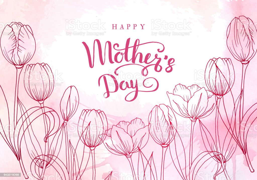 Happy mother's day. Greeting card with mother's day. Floral background. Vector illustration vector art illustration