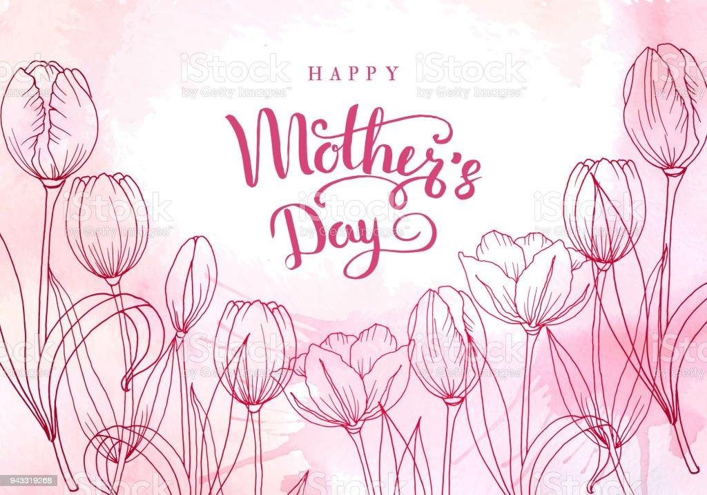 Muttertag. Grußkarte mit Muttertag. Floraler Hintergrund. Vektor-illustration – Vektorgrafik