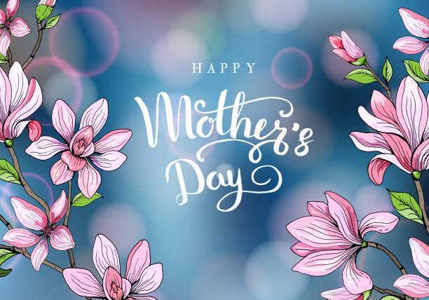 Feliz dia das mães. Cartão com o dia da mãe. Fundo floral. Ilustração vetorial - ilustração de arte em vetor
