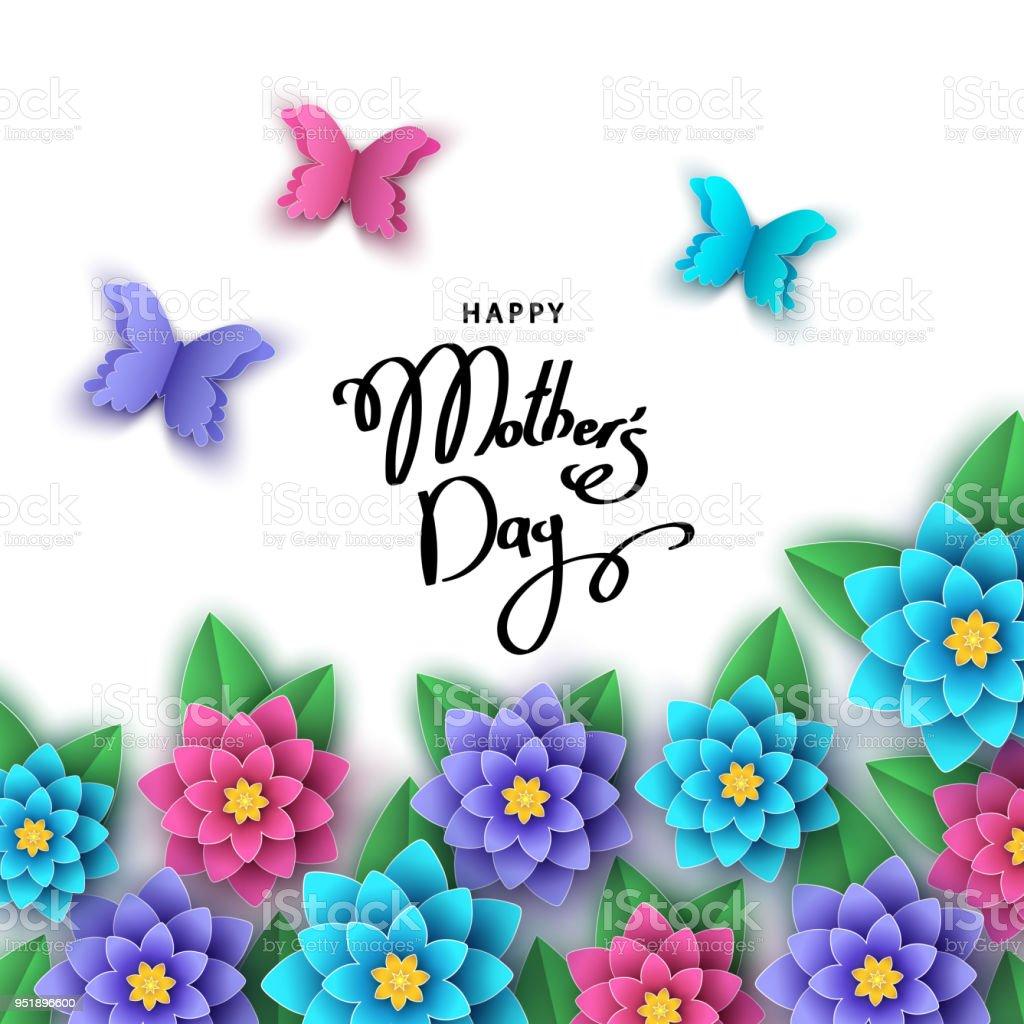 Glückliche Mutter Tag Grußkarte Mit Blumen Schmetterlingen