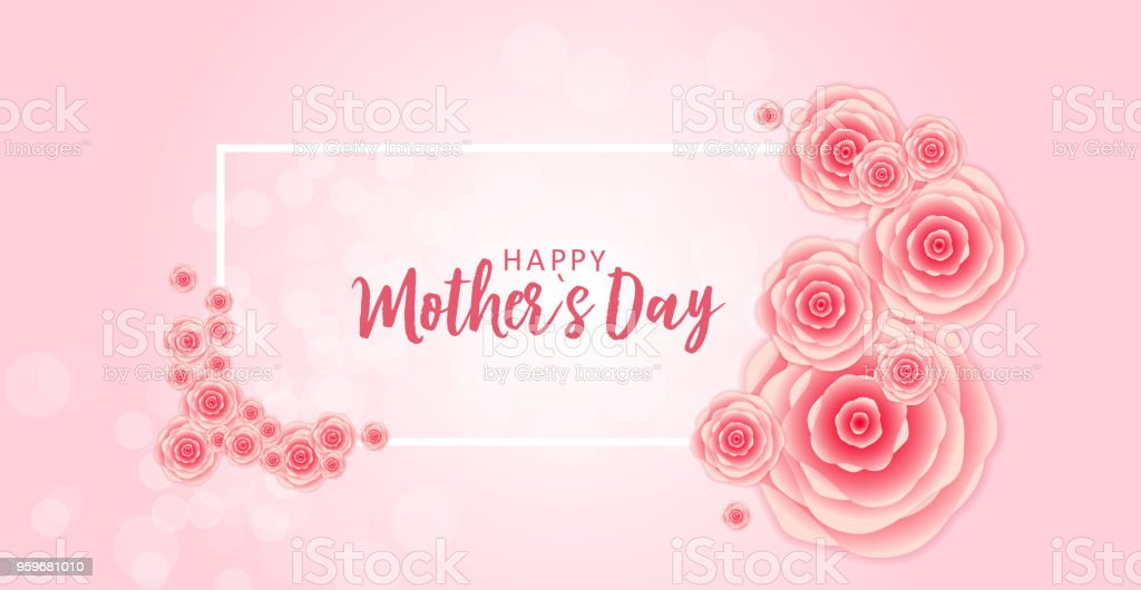 Happy mothers day greeting card with paper origami flowers happy mothers day greeting card with paper origami flowers background vector illustration royalty free mightylinksfo