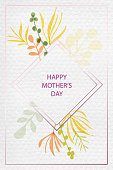 istock Happy Mother's Day Greeting Card with Watercolor Floral Pattern with Delicate Leaves and Berries. Spring Blossom Design for Greeting Cards, Advertising, Banners, Leaflets and Flyers. Botanical Vector Design. Tropical Summer Concept, Design Element. 1292004767
