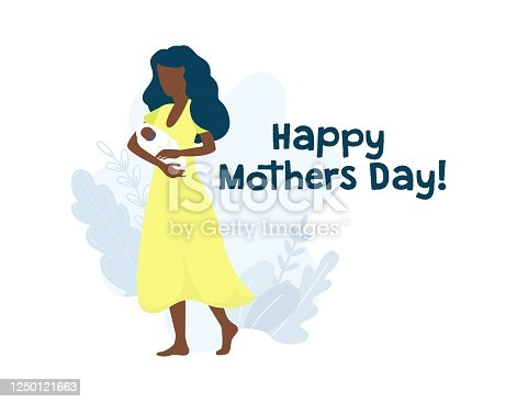 istock Happy mothers day greeting card with woman 1250121663