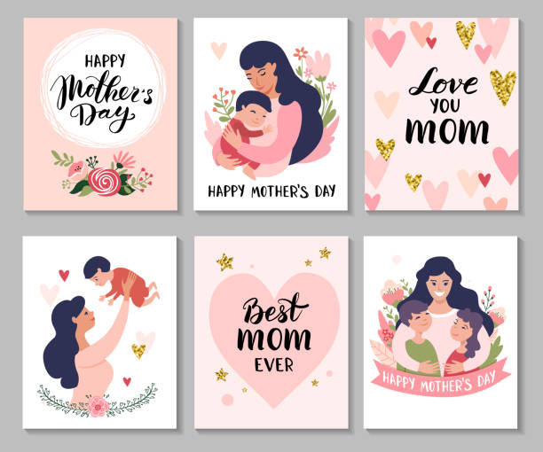Happy Mothers Day greeting cards. Happy Mothers Day greeting cards. Set of Calligraphy backgrounds and cartoon Mom with daughter & son. Vector illustration. mothers day stock illustrations