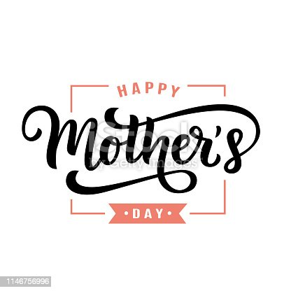 Happy Mothers Day greeting with hand written lettering. Cute typography design template for poster, banner, gift card, t shirt print, label, badge. Retro vintage style. Vector illustration