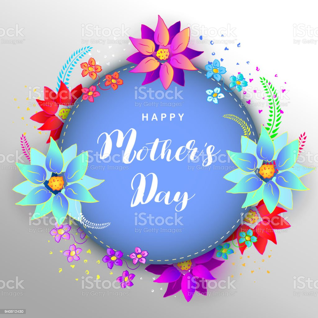 Happy Mothers Day Greetings Design With With Paper Cut Frame Flowers